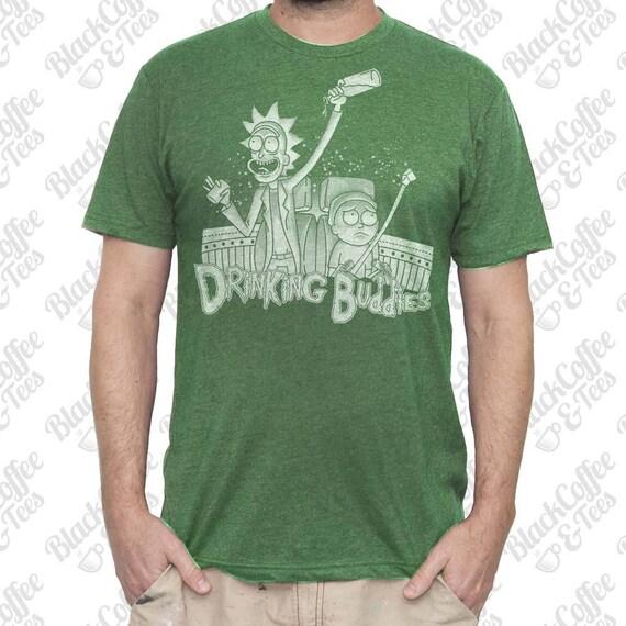 Mens St Patricks Day Shirt - Rick and Morty Shirt - Mens Rick and Morty T-Shirt - Rick and Morty Drinking Buddies - Mens Green St Pattys Day