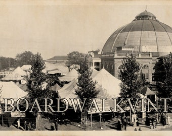 "1909 Illinois State Fairgrounds Vintage Panoramic Photograph Reprint 38"" Long"