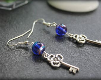 key to happiness blue earrings