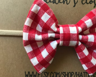 Hair Bow - Spring- Summer - Red Picnic Bow - Free Shipping