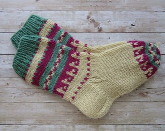 Wool Socks, Unique Wool Socks, Hand knit Socks, Women's Socks, Size 40/41, Collectible Socks, Folk Socks, Christmas Gift