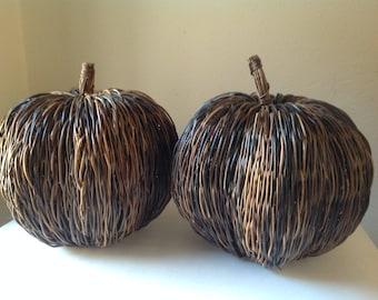 Vintage Twig Pumpkins/Halloween Fall Decor/Halloween Centerpiece/Wicker Pumpkins/Halloween Party/Farmhouse Rustic Decor/Straw Pumpkins