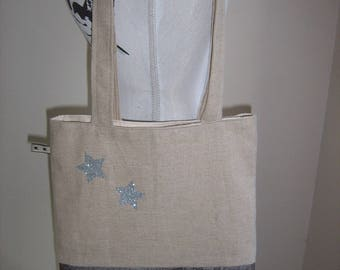 Tote bag/foure all very trendy in shades of beige and silver