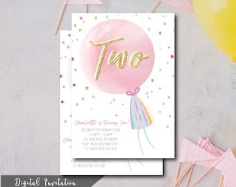 Pastel Balloon, Birthday Invite, Invitation, Children's Birthday Invite, Glitter Gold, Colourful, Digital File, Printable