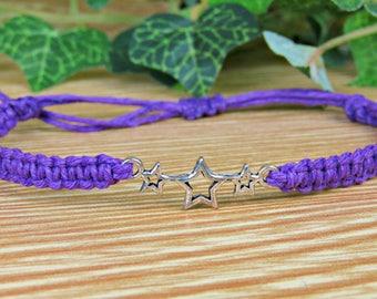 Triple Star Bracelet - Adjustable Hemp Bracelet - Astrology Gift - Astronomy Gift - Celestial Jewelry - Gift for Women - Silver Star Charm