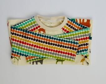 Childrens handmade long sleeve baseball style shirt - 2T - African animal print -  organic cotton - elephants giraffes birds gazelle