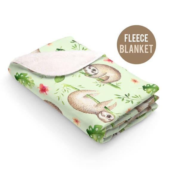 Fleece Blanket - Cute Sloth Sherpa Fleece Blanket - 50x60 size - Cute Sloth Blanket