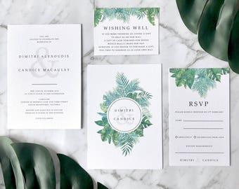 Modern Wedding Invitation Suite, Boho Tropical Lush Greenery