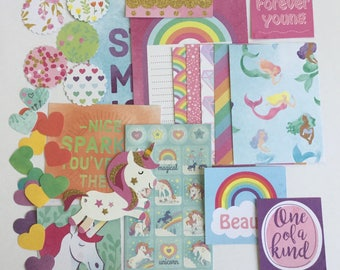 Journaling kit, unicorn project life, paper craft pack, embellishments, scrapbooking embellishments, unicorn ephemera