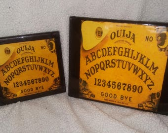 handmade brown Ouija board ceramic wall art