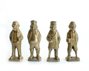 Brass Lobstermen, Set of 4, Mid Century Brass Figurines