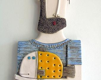 Handmade ceramic art tile,Original ceramic sculpture,Wall art,Fisherman with Goldfish