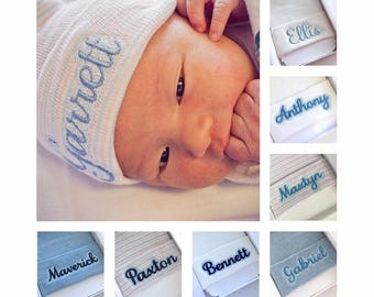 Newborn boy hat- coming home outfit hat - baby boy hospital hat - newborn hospital hat boy - personalized baby boy hat - newborn beanie boy