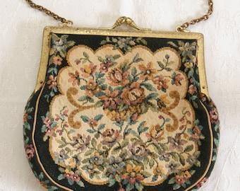 Vintage 1930's needlepoint embroidered  petit-point gobelin tapestry purse / handbag.