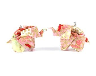 Elephant pink and Golden - Origami - earrings - Japanese paper