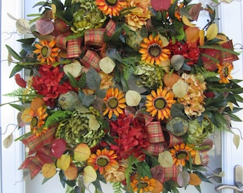 READY TO SHIP! Sunflower Fall Floral Wreath Autumn Wreath Fall Wreath Front Door Wreath