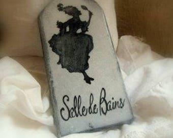 Plaque en lave émaillée : silhouette Salle de Bains