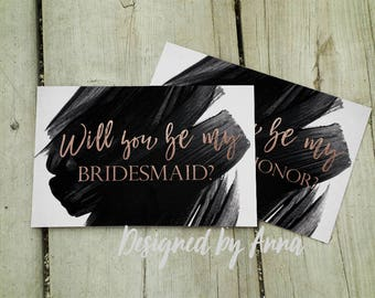 Printable will you be my bridesmaid card rose gold will you be my maid of honor marble gold foil will you be my bridesmaid black watercolor
