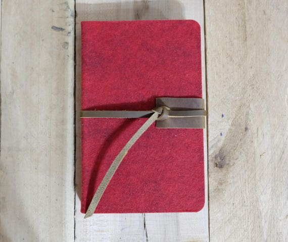Wool and Leather Sketchbook - Large - Red