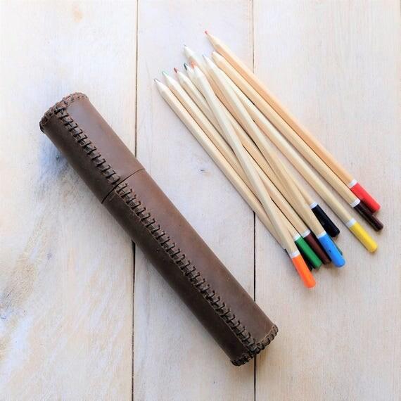 "Leather Artist's Tube - 7 3/4"" x 1"" - Pencils, Pens"
