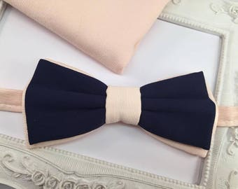 Double bow tie set and pouch costume banan man and Navy Blue