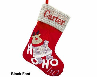 Personalized Classic Gray Plaid Christmas Stocking - Reindeer
