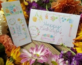 """Watercolor Card """"Happy Birthday"""" -buy with or without bookmark!"""