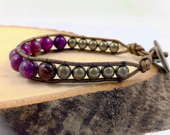 Lepidolite ~ Wrap Bracelet with Pyrite on metallic leather, Crystal Healing, Bohemian Bracelet, Stacking Bracelet, Boho Chic, Gift for Her