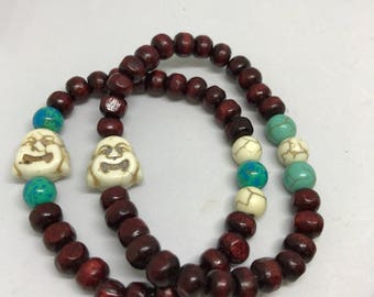 Set of 2 Buddha beaded bracelet