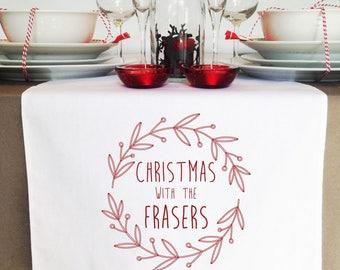 Red Wreath Christmas Table Runner