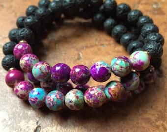 Stackable Mala Inspired Essential Oil Diffuser Lava Bead + Purple Jasper Spiritual Junkies Yoga and Meditation Bracelet (1 bracelet)