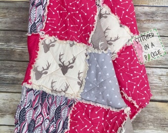 woodland girl, rag quilt, pink rag quilt, pink buck, girl woodland blanket, woodland crib bedding, buck rag quilt, pink and grey quilt