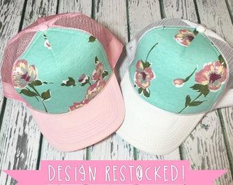 Cute hat, womens hat, trucker hat, floral trucker hat, womens snapback, navy floral hat, floral hat, floral snapback