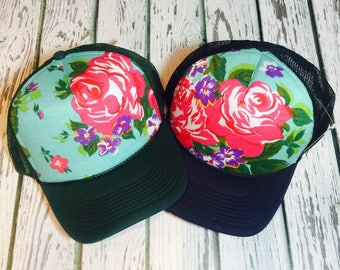 NEW limited edition unique Hawaiian  floral design, available on a variety of different colored brims.