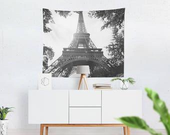 Wall Tapestry, Black and White Decor, Eiffel Tower Travel Decor, Paris Bedroom Art, 51x60, 68x80, 88x104