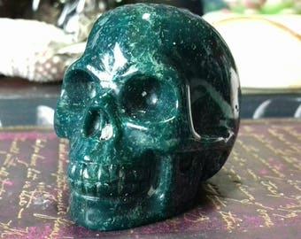 Dark Green Jasper Hand Carved Crystal Skull - Crystal Healing, Crystal Carving, Crystal Skull, Skull Carving, Crystal Energy  GJ7