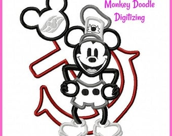 Steamboat Mickey Anchor -  Embroidery Machine Applique - Instant Download - Monkey Doodle Digitizing