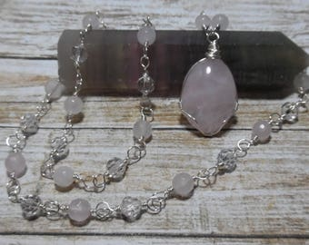 Rose Quartz Necklace, Rose Quartz Jewelry, Beaded Gemstone Necklace, Crystal Necklace, January Birthstone, Bohemian Jewelry, Mothers Day