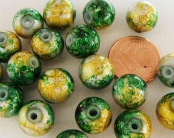 20 perles Rondes 10mm verre peint Jaune Vert PV-peint-07 DIY création bijoux