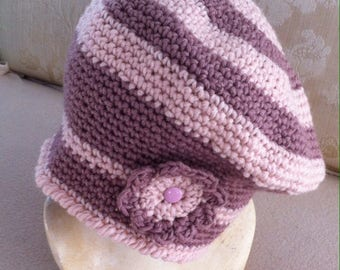 Pink crochet hat, Cap made of wool