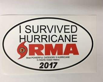 Hurricane IRMA Survivor OVAL Decal By SBDdecals.com 1 Dollar Donated per decal sold