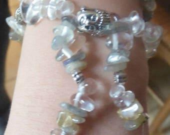 Labradorite and Crystal mala bracelet