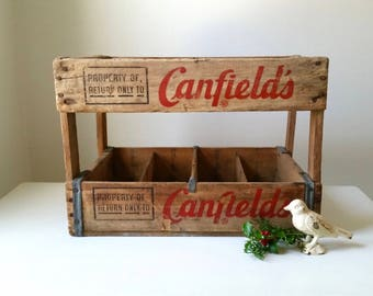 Vintage Canfield's Crate . Large Wood Soda Crate . Antique Wooden Box . Rustic Cabin . Industrial Farmhouse . Home Decor . Chicago IL .