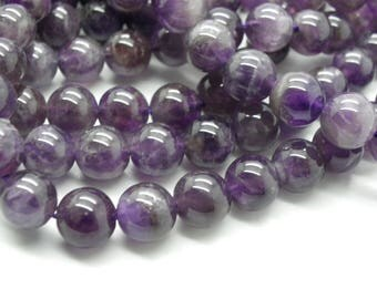 40 natural 8 mm with hole 1 mm purple amethyst beads