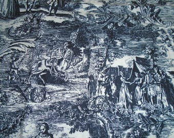 Vintage Peter Pan brand, Toile Cotton Fabric, by the Half Yard