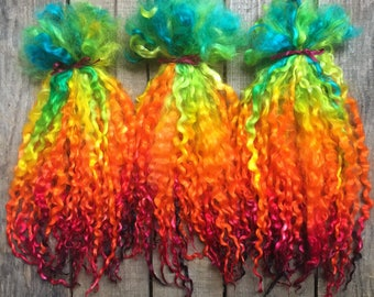 "Rainbow Teeswater Locks, Doll Hair, Wig, Spinning Locks, Crafting, Felting, Fringe, Long Wool Locks, Hand Dyed ""Rainbow Glow"" 10-12 inch"