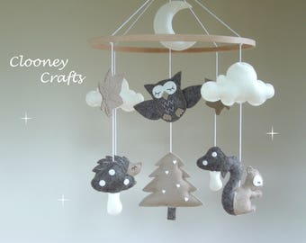 Woodland Baby Mobile, Forest Animal Baby Mobile, Woodland Nursery Decor, Woodland Mobiles, Woodland Cot Mobile, Forest Animal Mobile