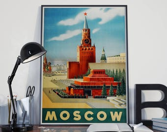 Moscow Travel Poster Soviet Union Russian Poster Russia Travel Print Russian Wall Art Russian Decor Russian Art Print Moscow City Art