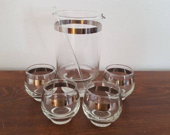 Silver Rimmed Pitcher and Glass Set