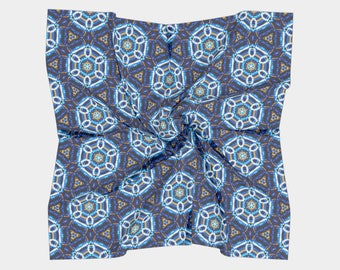 """16""""x16"""" - Small Square Scarf - Blue and Gold Geometric 'Beaded' print. Inspired by Beadwork/Beading"""